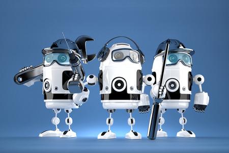 herramientas de mecánica: Grupo de la mecánica del robot. Concepto de la tecnología. Contiene trazado de recorte. Foto de archivo