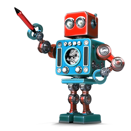 retro robot: Vintage robot with pen. Isolated on white background. Contains clipping path Stock Photo