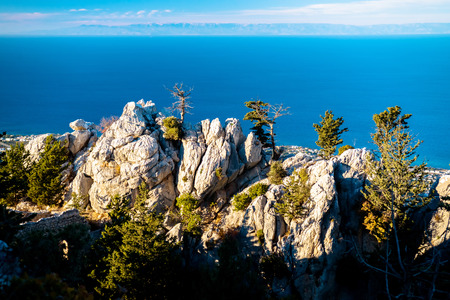 st hilarion: Sea view from the window of the St. Hilarion Castle. Kyrenia District, Cyprus. Stock Photo
