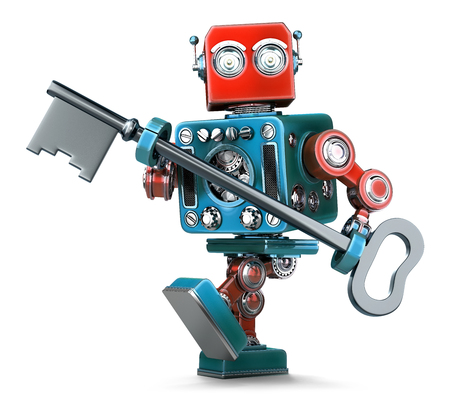 peron: Retro robot holding a big antique key in his hands. Isolated over white. Contains clipping path