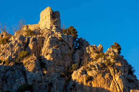 hilarion: Prince Johns tower at sunset, the topmost tower of the spectacular castle of St. Hilarion. Kyrenia District, Cyprus