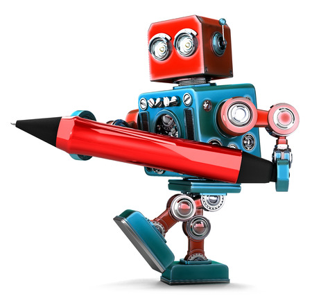 red pen: Vintage Robot writing with red pen. Isolated. Contains clipping path