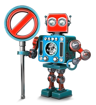 no entry sign: Retro Robot with NO ENTRY sign. Isolated over white. Contains clipping path