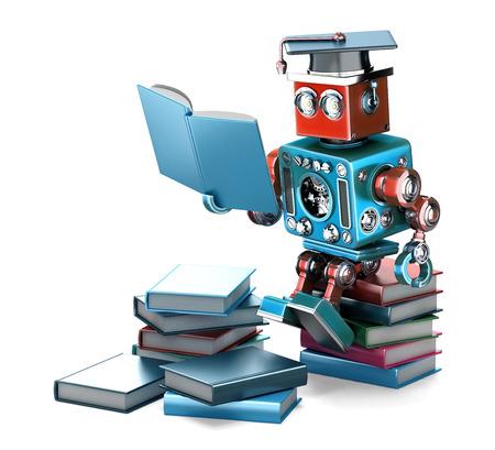 ビンテージ ロボット読書。教育コンセプトです。白で隔離されました。クリッピング パスが含まれています