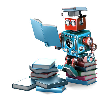 Vintage Robot reading books. Education concept. Isolated over white. Contains clipping path
