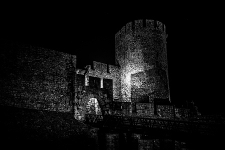 serbia: Spooky Kalemegdan fortress, Zindan gate. Belgrade, Serbia