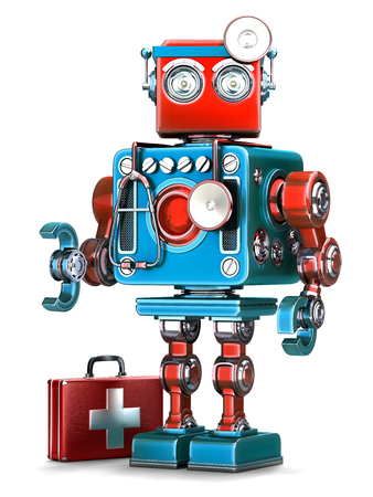 medic: Medic Robot. Technology concept. Isolated over white. Contains clipping path