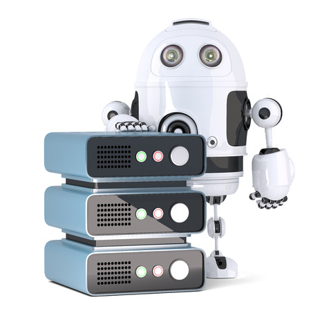 server technology: 3d Robot with Server rack. Technology concept. Isolated over white. Contains clipping path