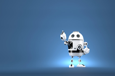 robo: Robot pointing at invisible object. Contains clipping path. 3d illustration Stock Photo