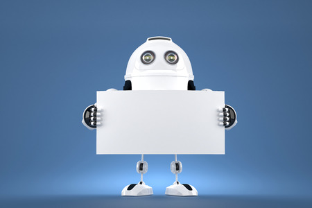 android robot: Android robot holding blank board. 3d illustration. Contains clipping path of blank board and entire scene