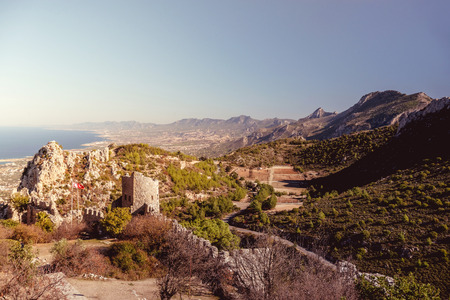 hilarion: The Lower Ward of St. Hilarion Castle as seen from the castle itself. Kyrenia Girne, Cyprus. Vintage color tone tuned