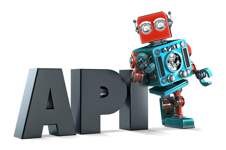 api: Retro Robot with application programming interface sign. Technology concept. Isolated on white background. Contains clipping path Stock Photo