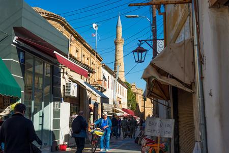 selimiye mosque: NICOSIA, CYPRUS - DECEMBER 3: Arasta street, a touristic street leading to an Selimiye mosque on December 3, 2015 in Nicosia.