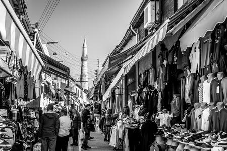 selimiye mosque: NICOSIA, CYPRUS - DECEMBER 3: People shopping at open-air market on Arasta street, a touristic street leading to Selimiye mosque in central Nicosia on December 3, 2015. Editorial