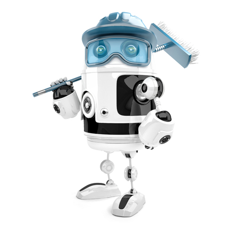 Robot worker with mop. Cleaning services. Isolated over white. Contains clipping path