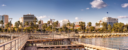 tuned: Panoramic view of Limassol city. Color tone tuned photo Stock Photo