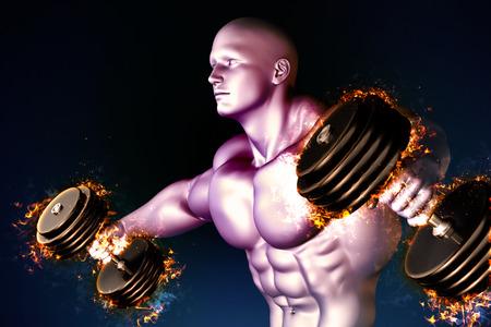 shirtless: Athlete with burning dumbbells. Stock Photo