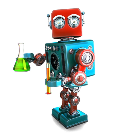pharmacology: Retro robot with laboratory glassware. Isolated over white. Contians clipping path Stock Photo