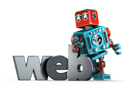 retro robot: Retro Robot with WEB sign. Technology concept. Isolated over white. Contains clipping path Stock Photo