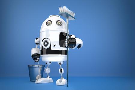 Robot limpiador con la fregona. Concepto de la tecnología. Contiene trazado de recorte Foto de archivo