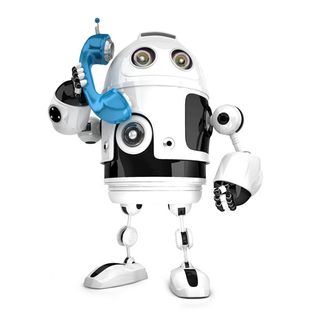 talking robot: 3D Robot with phone tube. Isolated over white. Contains clipping path