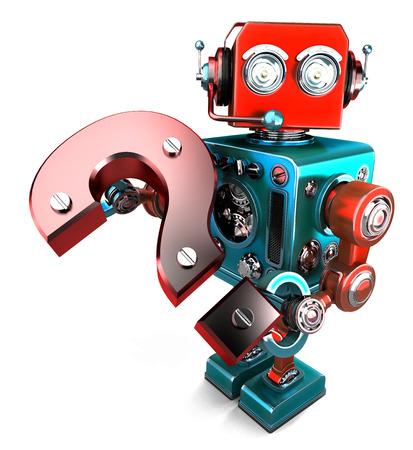 robot 3D con signo de interrogación. Aislado en blanco. Contiene trazado de recorte