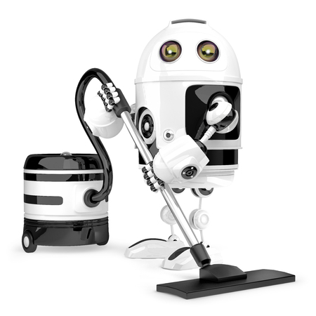 hoover: Robot cleaner. Technology concept. Isolated over white. Contains clipping path