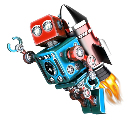 retro robot: Flying retro robot. Technology concept. Isolated. Contains clipping path