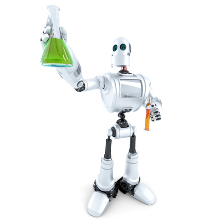 Robot scientist manipulates chemical tubes. Isolated over white. Contains clipping path Banco de Imagens