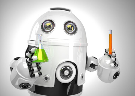 robot: Robot with test tube and flask. Chemical analysis concept. Contains clipping path.