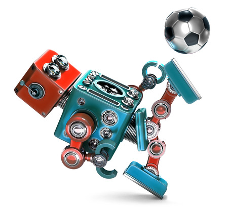 retro robot: 3D Retro Robot playing soccer. Isolated. Contains clipping path Stock Photo