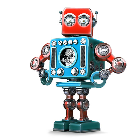 man standing alone: Posing Retro Robot. Isolated over white. Contains clipping path