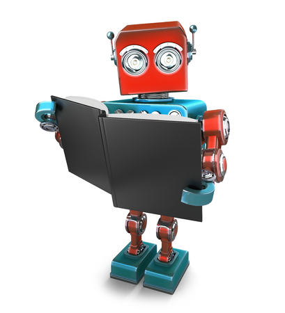 Vintage robot with books. Isolated over white. Contains clipping path