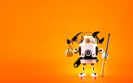 Robot holding tools. Technology concept. Contains clipping path. Stock Photo