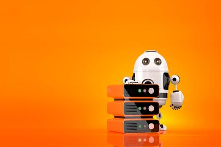 server technology: Robot server technician. Technology concept. Contains clipping path.