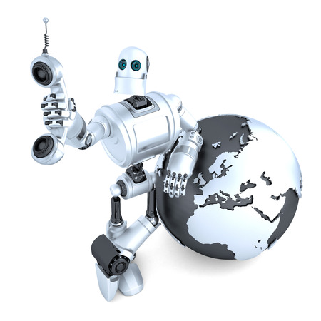 android tablet: Robot with tablet phone tube and earth globe. Global communication concept. Isolated over white. Contains clipping path