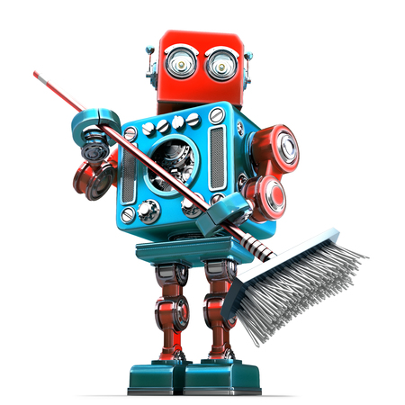 isolated man: Robot cleaner with mop. Technology concept. Isolated. Contains clipping path Stock Photo