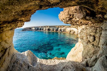 sea horizon: Sea Caves near Ayia Napa, Cyprus.