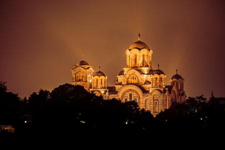 st mark: St. Mark Church at night. Belgrade, Serbia. Stock Photo