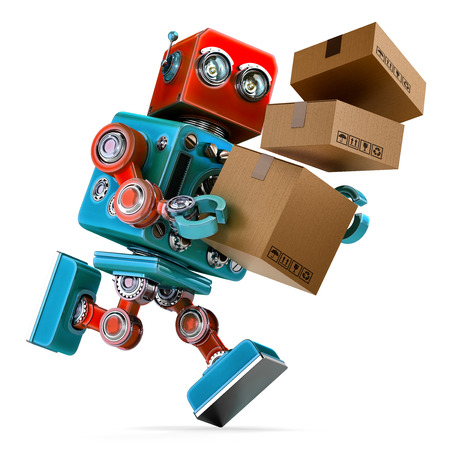 supplier: Robot in a rush delivering a package. Parcel Service. Isolated over white. Contains clipping path Stock Photo