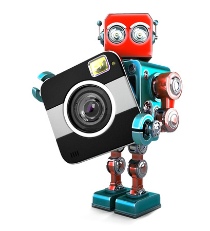 Retro robot with camera. Isolated over white. Contains clipping path Stock Photo