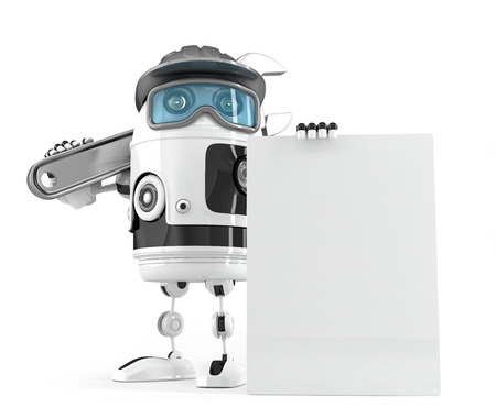 ad board: Construction robot with blank board for your ad. Isolated over white. Contains clipping path of board and entire scene