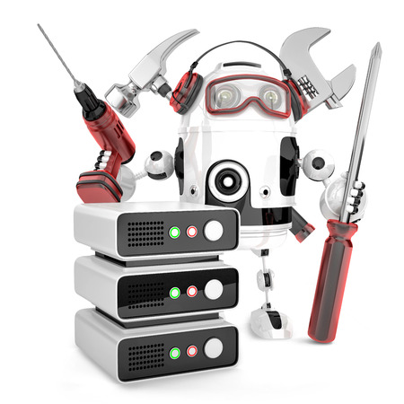 technician: Network engineer with tools. Technology concept. Isolated over white, contains clipping path Stock Photo