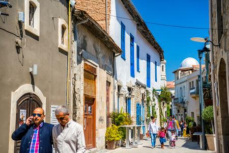 napa: LIMASSOL, CYPRUS - April 01, 2016: Genethliou Mitellla street, a touristic street leading to Ayia Napa Cathedral.