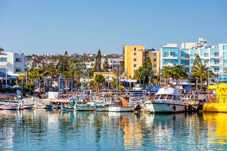 napa: AYIA NAPA, CYPRUS - April 04, 2016:  Harbor of Ayia Napa. Harbor is currently a famous tourist resort. Editorial