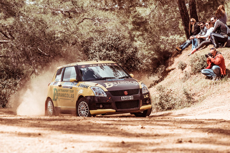 rally car: PAPHOS, CYPRUS - March 27, 2016:  39th Venus Rally in Panagia Forest. Editorial