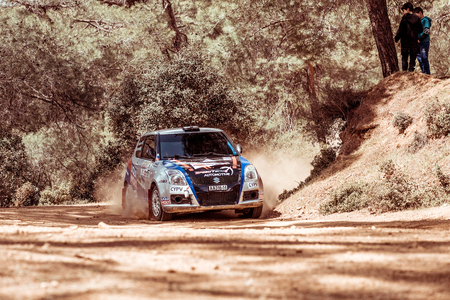 irc: PAPHOS, CYPRUS - March 27, 2016:  39th Venus Rally in Panagia Forest. Editorial
