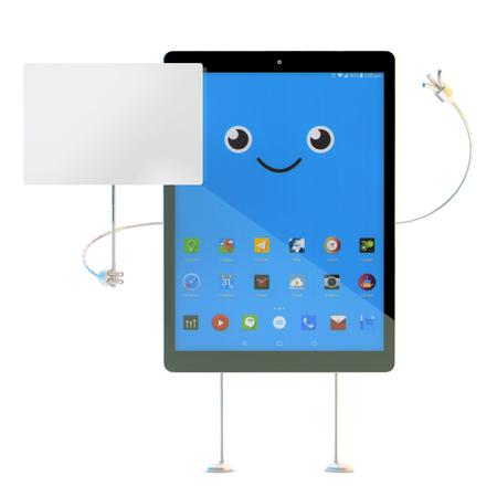 letreros: personaje de dibujos animados de la tablilla con la tarjeta en blanco. Aislado. Ilustración 3D con trazado de recorte Foto de archivo
