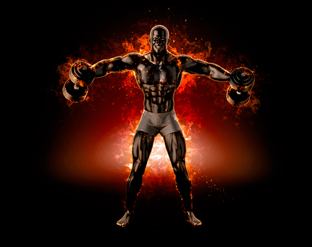 Muscular bodybuilder with dumbbells. Fire explode concept. 3d illustration.