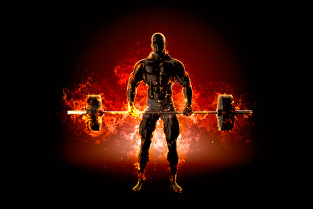 burning man: Muscular bodybuilder with barbell. Fire explode concept. 3d illustration. Stock Photo